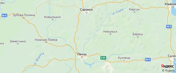 Карта Лунинского района Пензенской области с городами и населенными пунктами