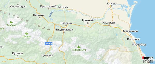 Карта Ачхой-мартановского района республики Чечня с населенными пунктами и городами