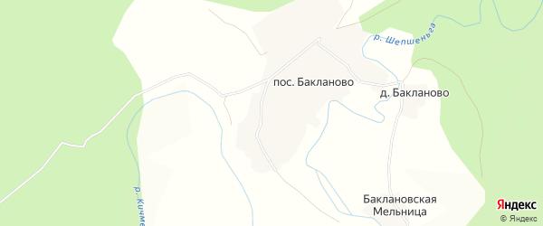 Карта поселка Бакланово в Вологодской области с улицами и номерами домов