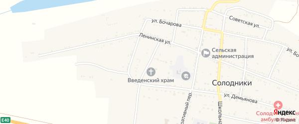Площадь Павших Борцов на карте села Солодники Астраханской области с номерами домов
