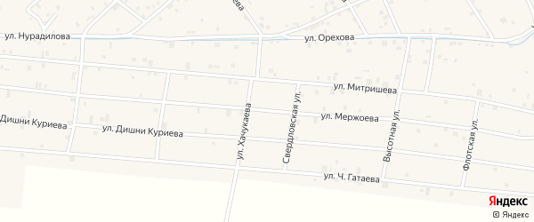 Улица Мержоева на карте села Ачхой-мартана с номерами домов