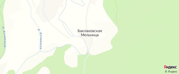 Карта деревни Баклановской Мельницы в Вологодской области с улицами и номерами домов