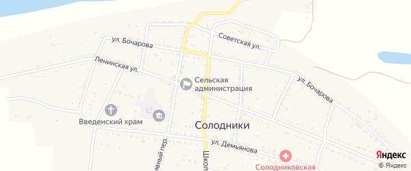 Почтовый переулок на карте села Солодники Астраханской области с номерами домов