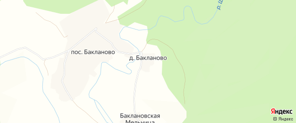 Карта деревни Бакланово в Вологодской области с улицами и номерами домов