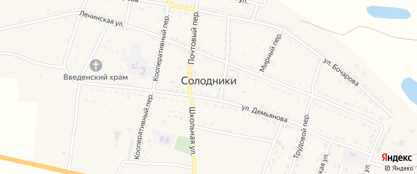 Комсомольская улица на карте села Солодники Астраханской области с номерами домов