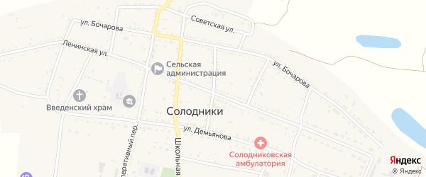 Московский переулок на карте села Солодники Астраханской области с номерами домов
