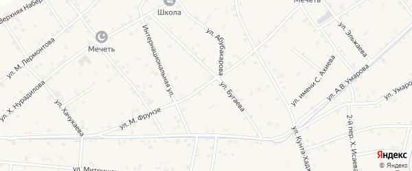 Улица М.Фрунзе на карте села Ачхой-мартана Чечни с номерами домов