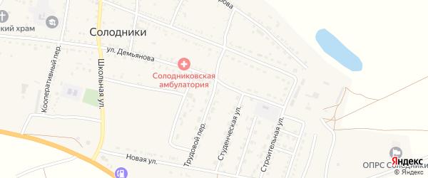 Трудовой переулок на карте села Солодники Астраханской области с номерами домов