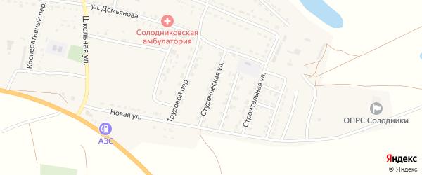 Студенческая улица на карте села Солодники Астраханской области с номерами домов