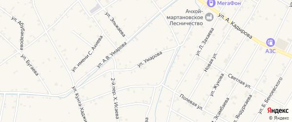 Переулок А.Умарова на карте села Ачхой-мартана с номерами домов