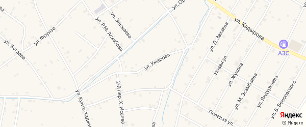 Улица А.В.Умарова на карте села Ачхой-мартана Чечни с номерами домов