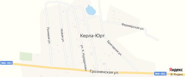 Школьный переулок на карте села Керла-Юрт Чечни с номерами домов