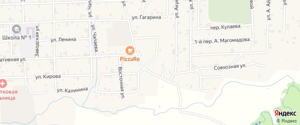 Восточный переулок на карте села Самашки с номерами домов