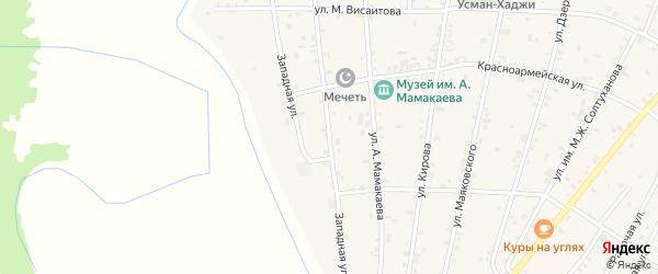 Улица Р.А.Такаева на карте Надтеречного села с номерами домов