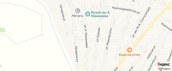 Улица А.Мамакаева на карте Надтеречного села Чечни с номерами домов