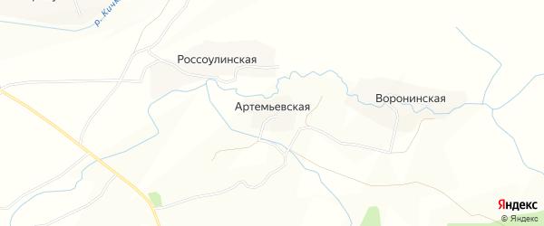 Карта Артемьевской деревни в Вологодской области с улицами и номерами домов