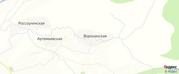 Карта Воронинской деревни в Вологодской области с улицами и номерами домов