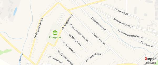 Большевистская улица на карте поселка Ромоданово Мордовии с номерами домов