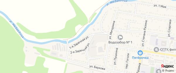 Заречная 1-я улица на карте Петровска с номерами домов