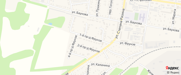 Фрунзе 1-й проезд на карте Петровска с номерами домов