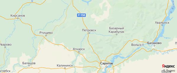Карта Петровского района Саратовской области с городами и населенными пунктами