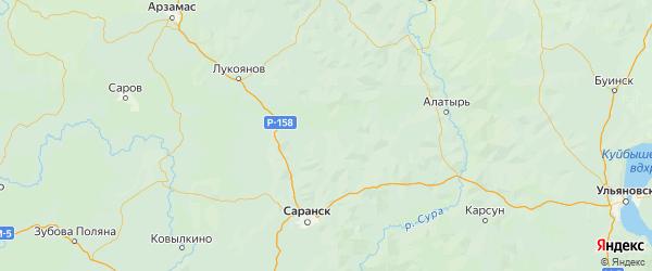 Карта Ичалковского района Республики Мордовии с городами и населенными пунктами