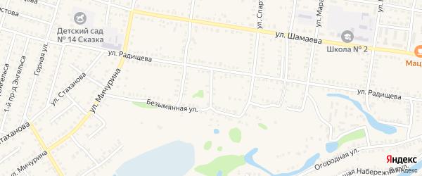 Безымянный переулок на карте Петровска с номерами домов