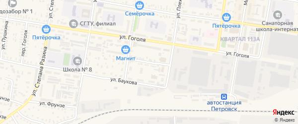 Водопроводная улица на карте Петровска с номерами домов