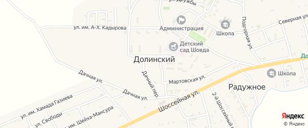 Школьная улица на карте Долинского поселка с номерами домов