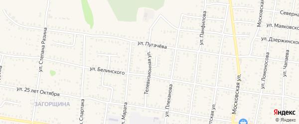Телевизионная улица на карте Петровска с номерами домов