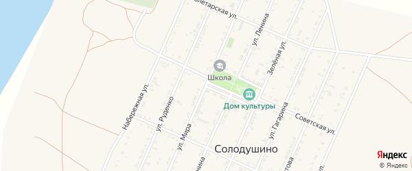 Улица Мира на карте села Солодушино Волгоградской области с номерами домов