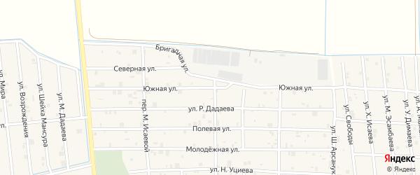 Южная улица на карте села Закан-Юрт с номерами домов