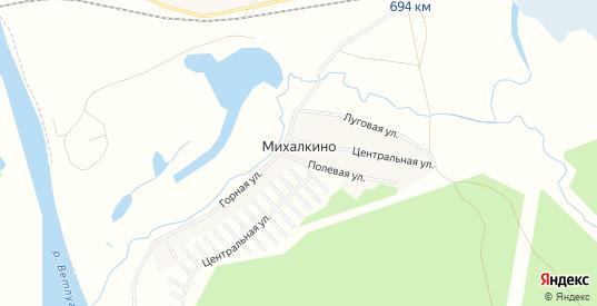 Карта деревни Михалкино в Шарье с улицами, домами и почтовыми отделениями со спутника онлайн
