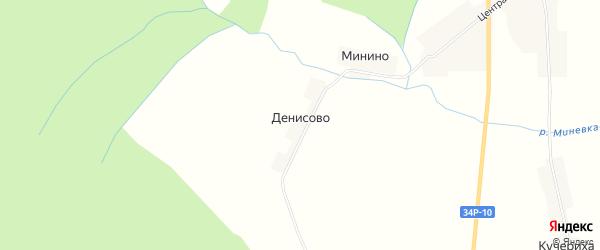 Карта деревни Денисово в Костромской области с улицами и номерами домов