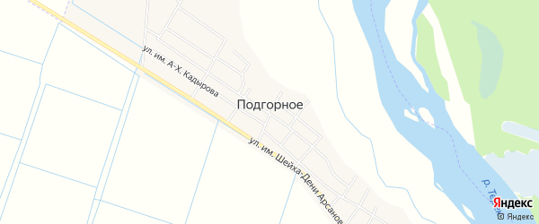Карта Подгорного села в Чечне с улицами и номерами домов