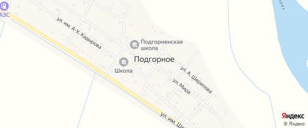 Улица Им Шейха-Дени Арсанова на карте Подгорного села с номерами домов