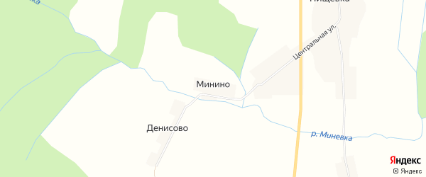 Карта деревни Минино в Костромской области с улицами и номерами домов