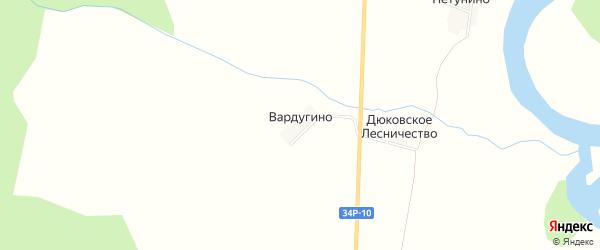 Карта деревни Вардугино в Костромской области с улицами и номерами домов