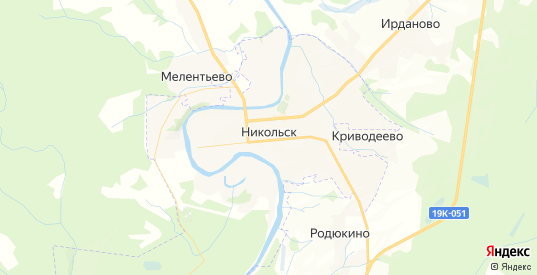 Карта Никольска с улицами и домами подробная. Показать со спутника номера домов онлайн