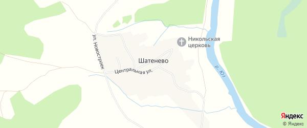 Карта деревни Шатенево в Вологодской области с улицами и номерами домов