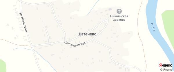 Улица Гужово на карте деревни Шатенево Вологодской области с номерами домов