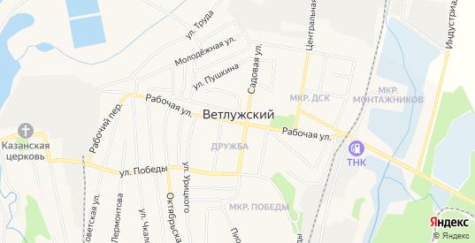 Карта поселка Ветлужский в Шарье с улицами, домами и почтовыми отделениями со спутника онлайн