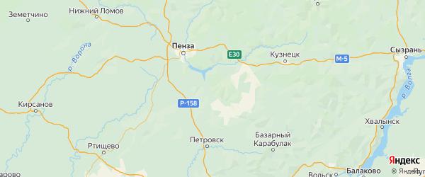 Карта Шемышейского района Пензенской области с городами и населенными пунктами