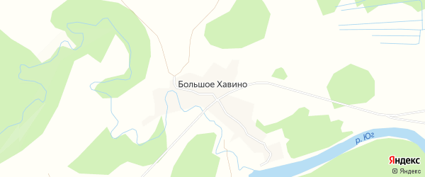 Карта деревни Хавино в Вологодской области с улицами и номерами домов