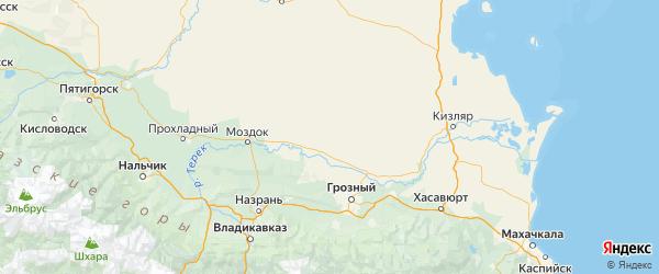 Карта Наурский района Республики Чечни с городами и населенными пунктами