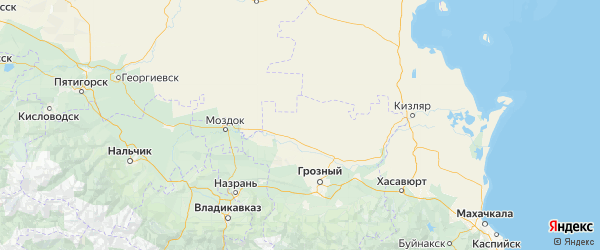 Карта Наурский района республики Чечня с городами и населенными пунктами