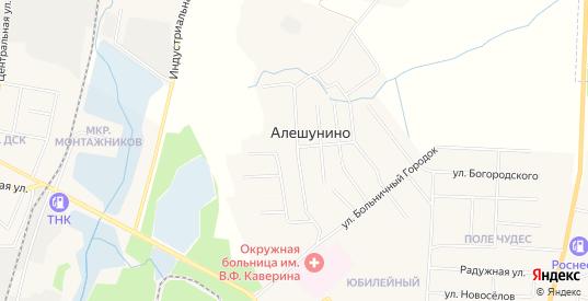 Карта деревни Алешунино в Шарье с улицами, домами и почтовыми отделениями со спутника онлайн
