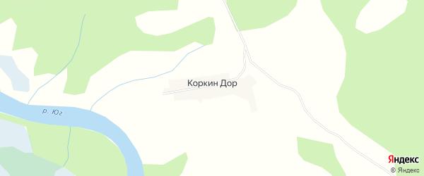 Карта деревни Коркин Дор в Вологодской области с улицами и номерами домов