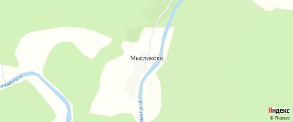 Карта деревни Мысликово в Вологодской области с улицами и номерами домов