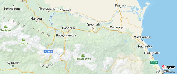 Карта Урус-мартановского района Республики Чечни с городами и населенными пунктами